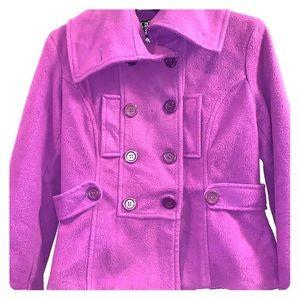 LastKISS Purple wide collar Waist length pea coat